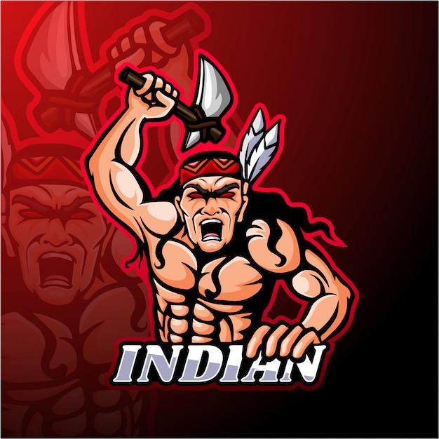 Diseño de mascota de logotipo de esport indio Vector Premium