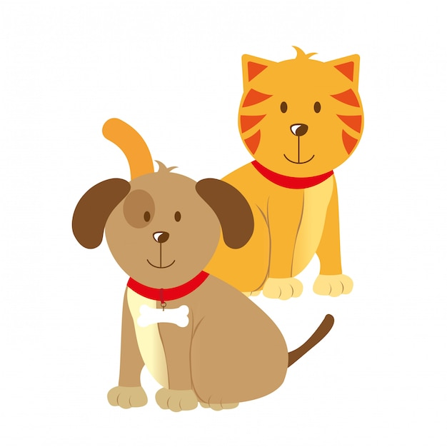 Diseño de mascotas sobre fondo blanco ilustración vectorial Vector Premium