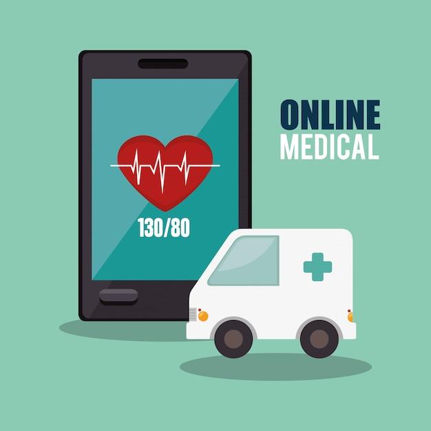 Diseño médico en línea vector gratuito