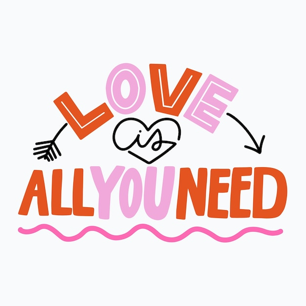 Diseño de mensaje de letras de amor vector gratuito
