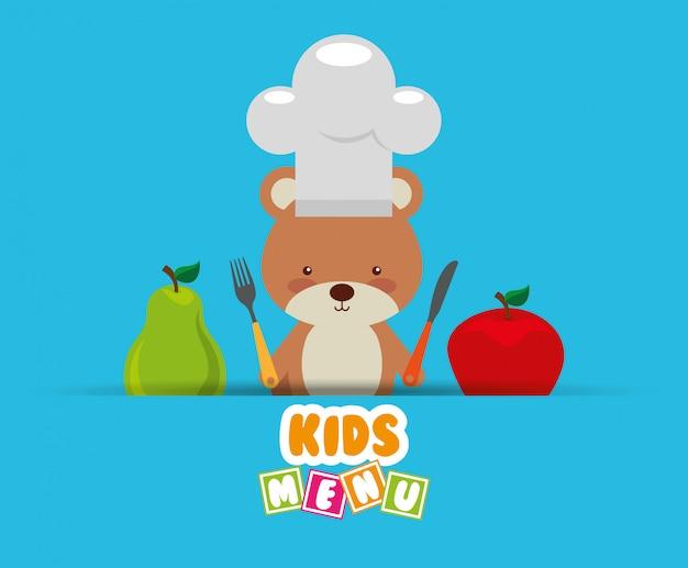 Diseño de menú para niños vector gratuito