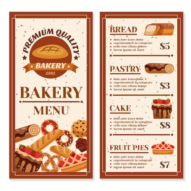 Diseño de menú de panadería vector gratuito