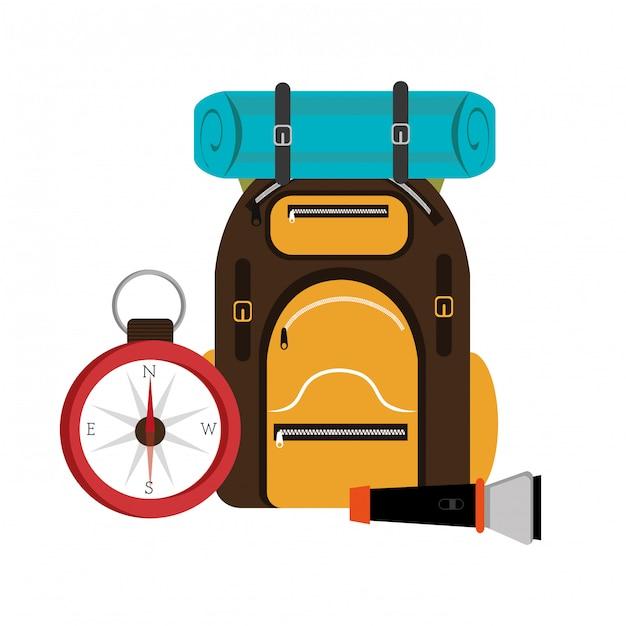 Diseño de mochila de camping. vector gratuito