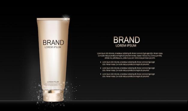 Diseño de moda maquillaje cosmética producto. 3d realista Vector Premium