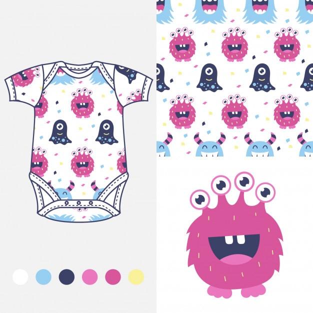 Diseño de moda para ropa de bebé   Descargar Vectores Premium