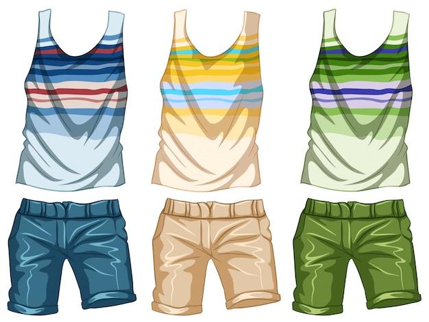 Diseño de moda para tanktop y shorts ilustración vector gratuito