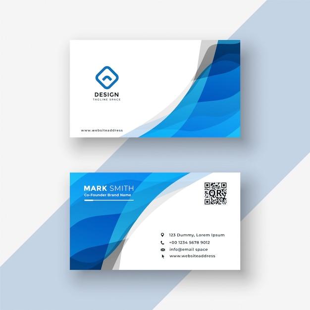 Diseño moderno azul abstracto de la tarjeta de visita vector gratuito