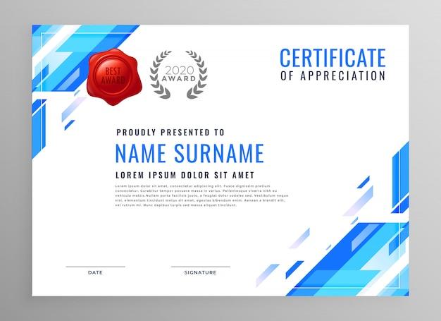 Diseño moderno azul certificado de negocios vector gratuito