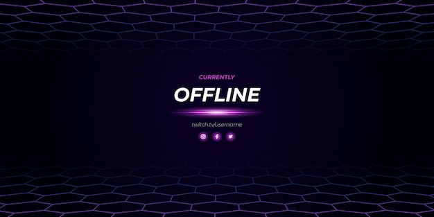 Diseño moderno fuera de línea de twitch púrpura Vector Premium
