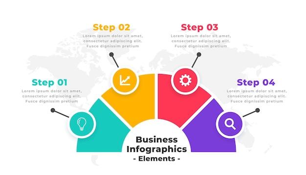 Diseño moderno de infografía de línea de tiempo de cuatro pasos vector gratuito