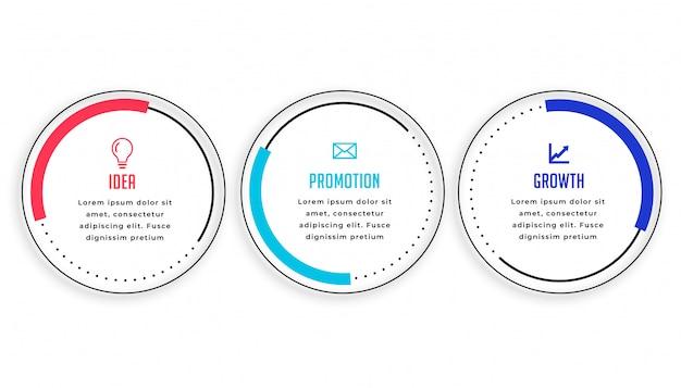 Diseño moderno de la plantilla de infografía circular de tres pasos vector gratuito