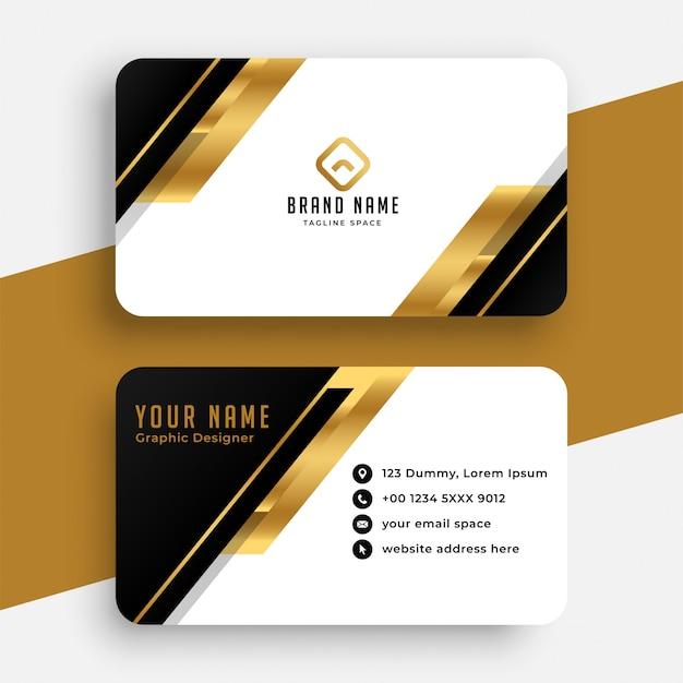 Diseño moderno de tarjeta de visita negra y dorada vector gratuito