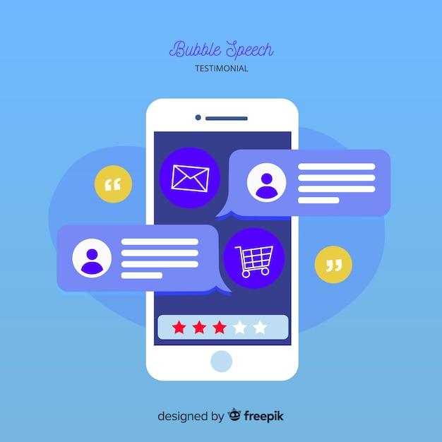 Diseño moderno de testimonial con concepto de burbujas de texto vector gratuito