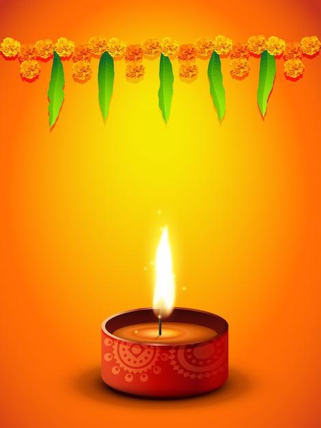 Diseño naranja para el festival de diwali vector gratuito