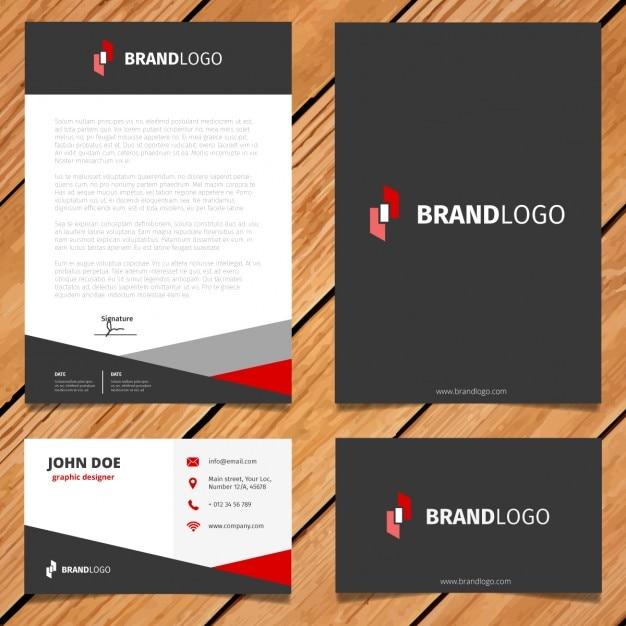 Diseño negro y rojo de papelería corporativa vector gratuito
