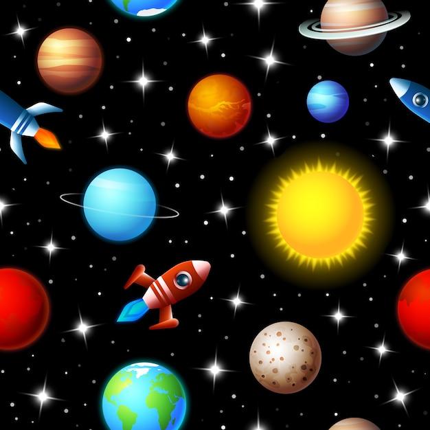 Diseño de niños sin costuras de fondo de colores brillantes de cohetes volando a través de un cielo estrellado en el espacio exterior entre una variedad de planetas en la galaxia en un concepto de viaje y exploración vector gratuito