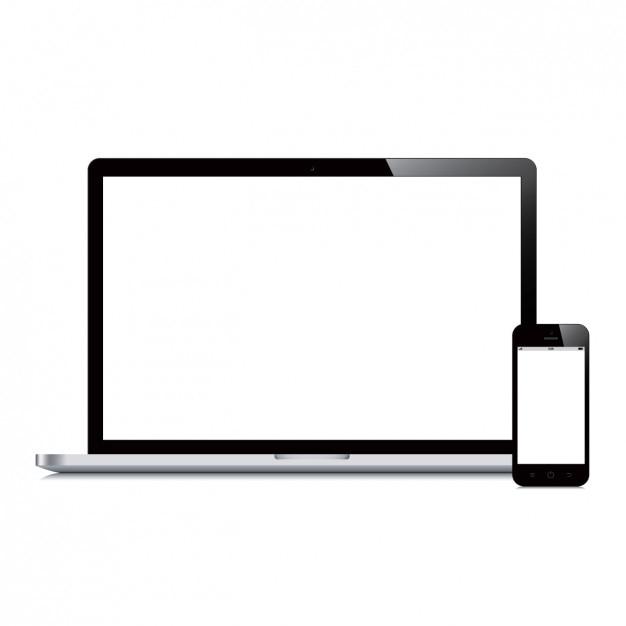 Diseño de ordenador portátil y teléfono móvil vector gratuito