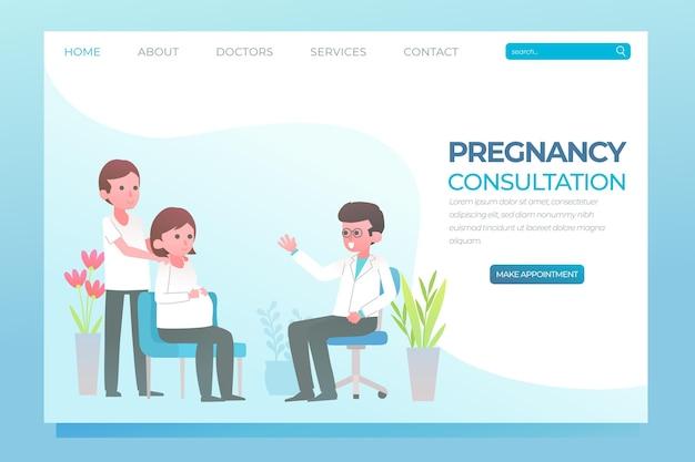 Diseño de página de aterrizaje de consulta de embarazo vector gratuito