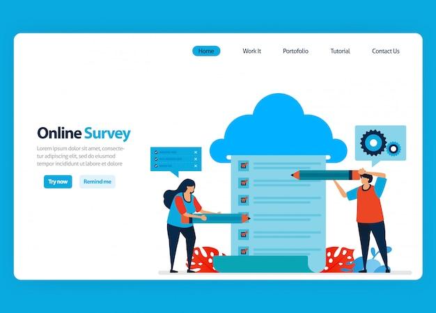 Diseño de página de aterrizaje para encuestas y exámenes en línea, alojamiento y servicios de servidor para procesar los resultados de la encuesta a big data y bases de datos. ilustración plana Vector Premium