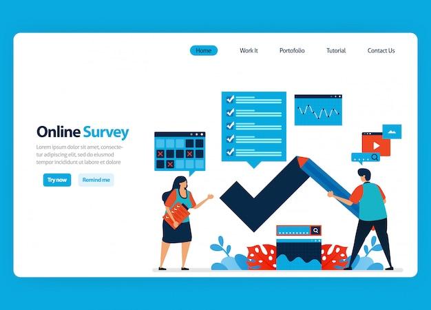 Diseño de página de aterrizaje para encuestas y exámenes en línea, llenando encuestas con internet y software de validación. ilustración plana Vector Premium