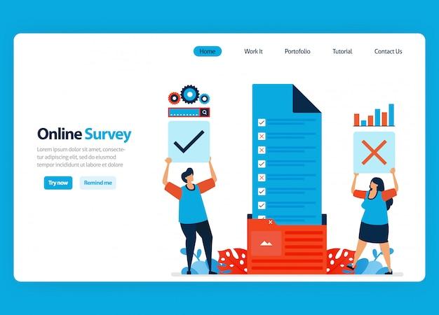 Diseño de página de aterrizaje para encuestas y exámenes en línea, organización de documentos de encuestas en la carpeta de flujo de trabajo. ilustración de dibujos animados plana Vector Premium