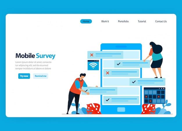 Diseño de página de aterrizaje para encuestas y exámenes en línea, revisando la satisfacción del cliente y la calificación de los usuarios con aplicaciones de encuestas móviles ilustración plana Vector Premium