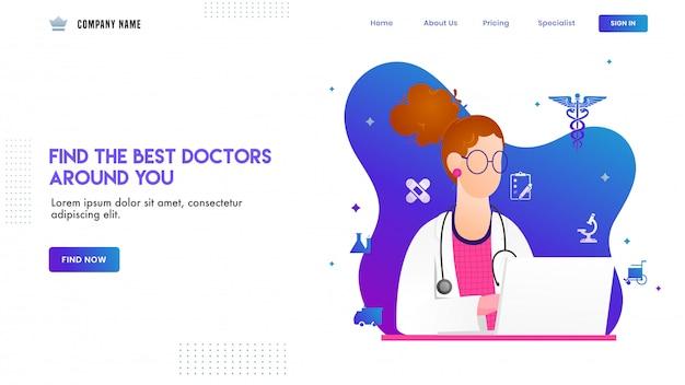 Diseño de página de aterrizaje con ilustración del personaje de doctora y elementos médicos Vector Premium