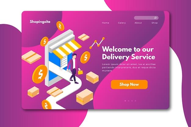 Diseño de página de aterrizaje en línea de compras vector gratuito