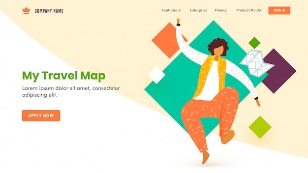 Diseño de página de aterrizaje con personaje de hombre sin rostro en pose de salto, mapa de viaje Vector Premium