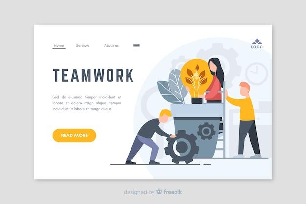 Diseño de página de aterrizaje de trabajo en equipo de negocios vector gratuito