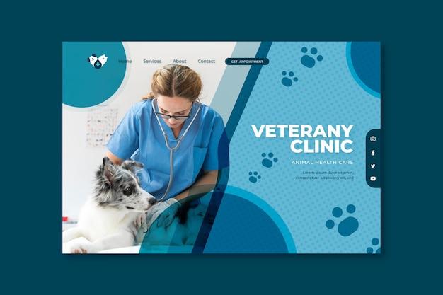 Diseño de página de aterrizaje veterinaria vector gratuito