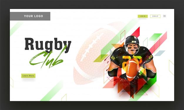 Diseño de la página de destino del club de rugby con ilustración de jugador de rugby en Vector Premium