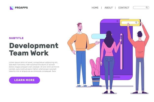 Diseño de página de destino de desarrollo de aplicaciones vector gratuito