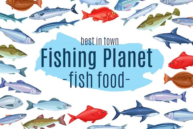 Diseño de página con pescado Vector Premium