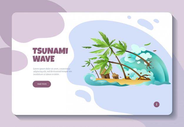 Diseño de página web de banner de concepto de información en línea de desastres naturales con ola de tsunami botón leer más vector gratuito
