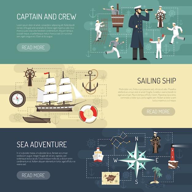 Diseño de página web de banners horizontales de vela. vector gratuito