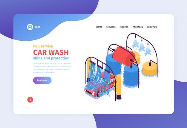 Diseño de página web de concepto de servicios de lavado de coches isométrica vector gratuito