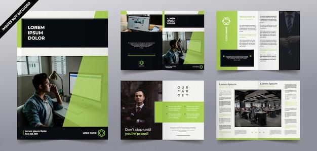 Diseño de páginas de folleto de tecnología verde moderna Vector Premium