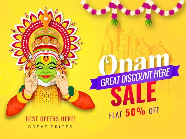 Diseño de pancarta o póster de onam sale con oferta de 50% de descuento e ilustración de la bailarina kathakali Vector Premium
