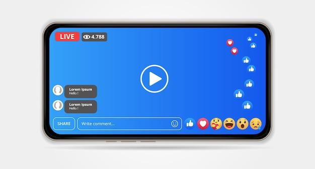 Diseño de pantalla para facebook live streaming en teléfonos inteligentes. ilustración Vector Premium