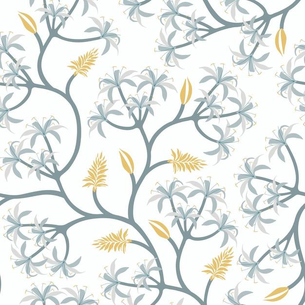 Diseño de papel pintado de la rama de la planta de la naturaleza vector gratuito