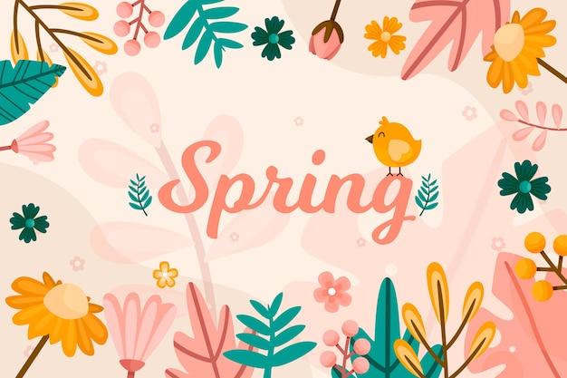Diseño de papel tapiz de primavera dibujado a mano vector gratuito
