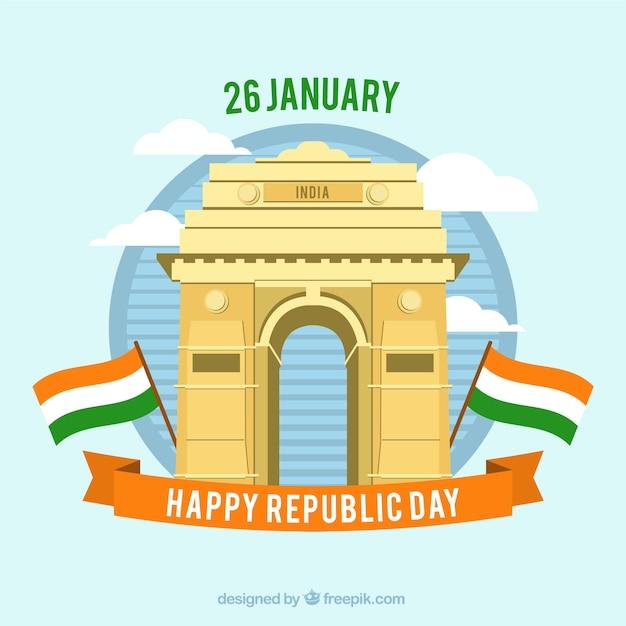 Diseño para el día de la república de la india con puerta de la ...