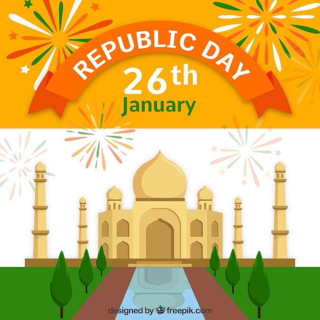 Diseño para el día de la república de la india con tak mahal ...
