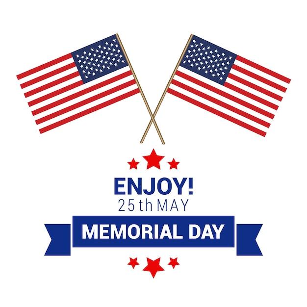 diseo para el memorial day con dos banderas americanas vector gratis