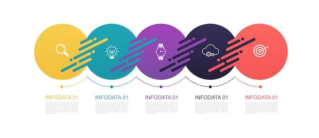 Diseño de patrón de círculos de infografía con estructura de 5 pasos. diagramas de plantilla, presentación y gráfico, líneas de gráfico circular, concepto de negocio. Vector Premium