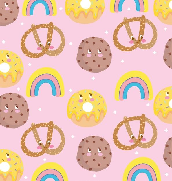 Diseño de patrón de comida lindo, donas de galletas de pretzel de decoración y arco iris ilustración vectorial Vector Premium