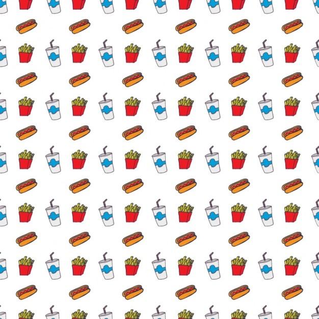 Diseño de patrón de comida rápida vector gratuito