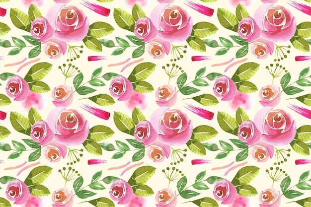 Diseño de patrón floral acuarela vector gratuito