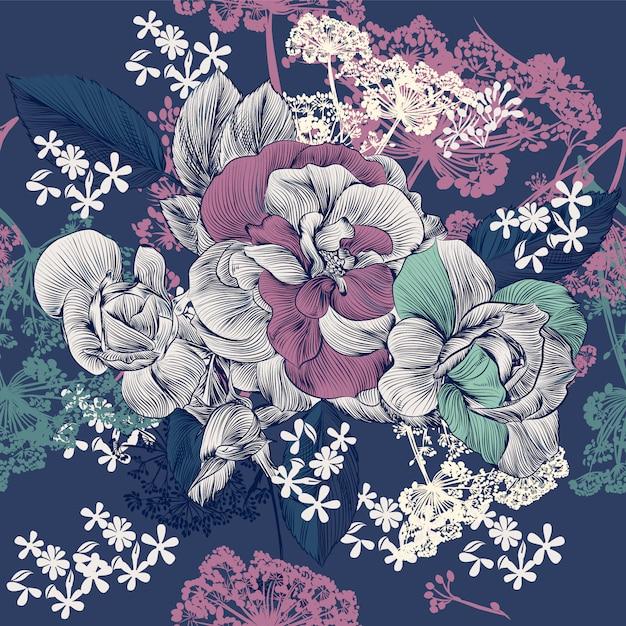 Diseño de patrón floral Vector Premium